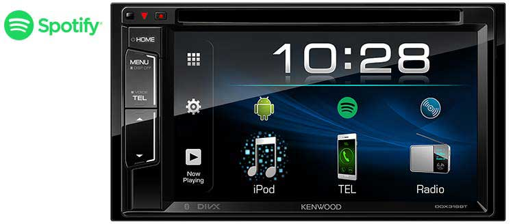 "Kenwood DDX318BT Double Din Car CD DVD Bluetooth iPod iPhone Android Stereo  6 2"" Monitor"
