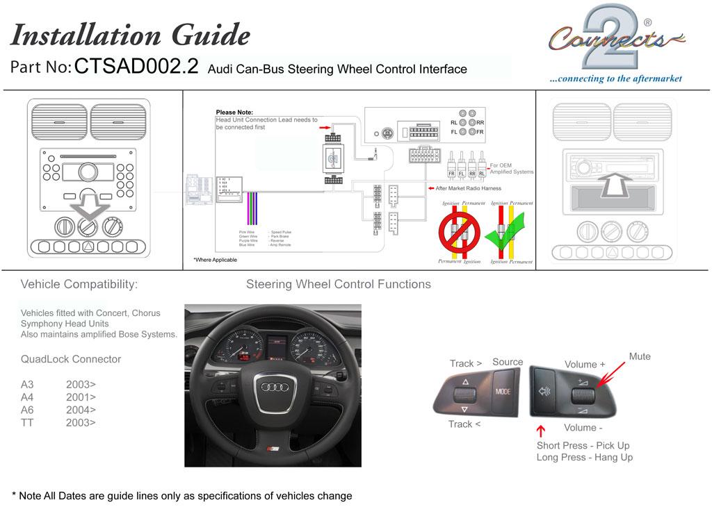 Ctsad 002.2 Adaptador De Control De Dirección Teléfono Soporte De Botones Para AUDI A3 A4 A6