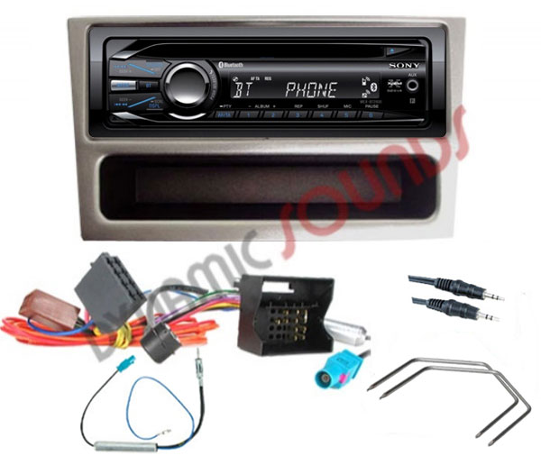 Vauxhall Tigra Silver 2004> Car Stereo Fitting Kit with Sony Bluetooth CD